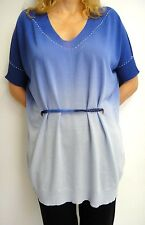 ANGELO MARANI Designer Top in size L/XL blue cotton crystals Made in Italy 585$