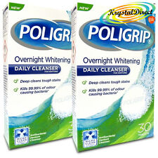 2x Poligrip Overnight Whitening Denture Daily Cleanser 30 Tablets