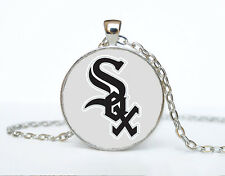 White Sox MLB baseball Cabochon Glass Tibet Silver Chain Pendant Necklace