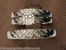 Men Womens His Her Diamonds Rings Trio Bridal Set Wedding Bands 10k White Gold