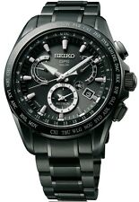 NEW SEIKO ASTRON SOLAR DUAL TIME TITANIUM BLACK PVD CASE AND BRACELET SSE049