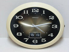"vintage CARAVELLE  15"" Electronic Wall Clock FLIP Calendar JAPAN Works Perfectly"