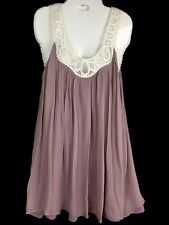Elizabeth Gillett NYC Purple Lilac Tunic Silk Dress Battenburg Lace Petite Small