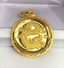 24K Solid Yellow Gold Cute Animal Sign Big Round Dragon Charm/ Pendant,6.07Grams