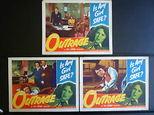 1950 OUTRAGE - 6 LOBBY CARDS : 1 SIGNED BY MALA POWERS - CRIME NOIR - RAPE