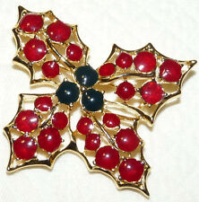 Lovely Vintage Gold Tone Red-Black Enamel Holly Berry Brooch/Pin  W17
