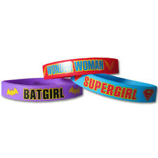 DC SUPER HERO GIRLS RUBBER BRACELETS (6) ~ Birthday Party Supplies Favors Comic