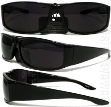 Gangster Black Cholo Wrap Sunglasses Super Dark Lens OG LOC Lowrider Style 22SD