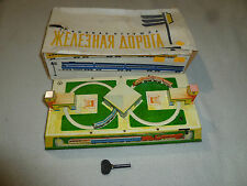 VINTAGE BOXED TIN TRAIN SET AOPOTA RUSSIAN WIND UP TOY W KEY RUSSIA USSR RARE