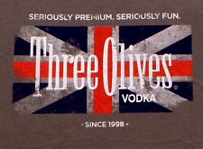 New THREE 3 OLIVES VODKA Liquor Martini British Flag SHIRT, XXL 2XL