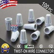 (100) Grey Twist-On Wire GARD Connector Conical nuts 22-16 Gauge Barrel Screw US