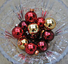 box of 16 small 35mm GLASS Christmas tree BAUBLES decoration ornaments gold red