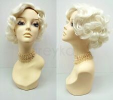 Platinum Blonde 50s Short Curly Wig Marilyn Monroe Style Vintage Retro Costume