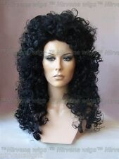Black Long Curls Lion Volume wig Wear On/Off the face Drag/CHER Style