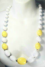 CHRISTIAN DIOR - Vintage Acrylic & Chrome Beaded Necklace - Signed - Circa 1973