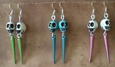 Sugar Skull Day of the Dead Spike & Skull Earrings Skull Jewelry Gothic Jewelry