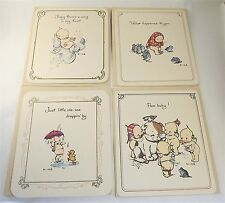 Lot set of 4 Kewpie Doll cards Vintage 1973 Babydoll Notecards by Rose O'Neill