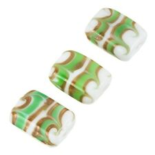White Rectangle Glass Beads Green/Gold Pattern 18x15mm Pack of 3 (A68/5)