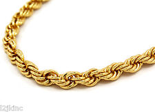Mens 14K Yellow Gold Plated 12mm Rope Chain Necklace 30""