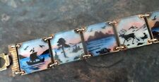 Attractive Norwegian Sterling Silver Enamel Scenic Bracelet - Nils Elvik Norway