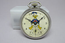 Disney 1939 Ingersoll Donald Duck Pocket Watch with Rare Mickey Mouse Decal Back