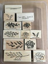 STAMPIN UP FLOWERS FOR A FRIEND TWO STEP SET OF 12 WOOD MOUNTED RUBBER