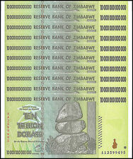 Zimbabwe 10 Trillion X 10 Pieces (PCS), AA/2008, P-88, UNC, 100 Trillion Series