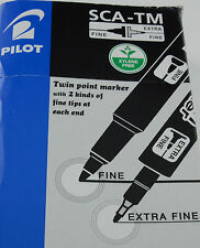 3 X PILOT DOBLE PERMANENTE POINT.FINE&EXTRS MARKER.SCA-TM-B-NEGRO-DOBLE FINA
