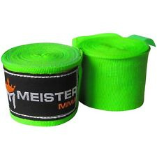 "NEON GREEN 180"" ELASTIC HAND WRAPS Meister MMA Cotton Boxing Wraps Mexican PAIR"