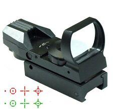 Gun Tactical Reflex Holographic Red Green Dot Sight 4 Type Reticle w/ 20mm Rails