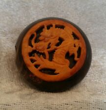 Antique Japanese Wood Dragon Circular Netsuke Signed Intricate Hand Carved Piece
