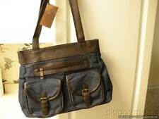 BLUE DENIM BAG PURSE BROWN LEATHER SHOULDER STRAPS GOLD COAST NEW