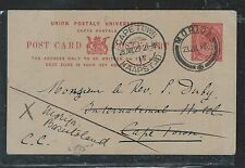 BASUTOLAND  (PP2909B)  1920 SOUTH AFRICA KGV 1D PSC USED FROM MORIJA TO CAPETOWN