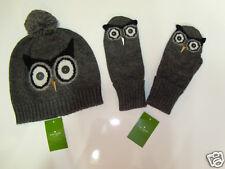 NWT Kate Spade Wise Owl Pom Pom Beanie Hat Mittens Gloves Set One Size NEW Gray
