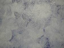Leaves Outlined in Silver Frost on Muted Blue B/G-Kanvas Prints-By The Yard
