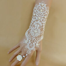 Women's Wedding Dress Jewelry White Rose Lace Pearl Bracelet Ring Accessories