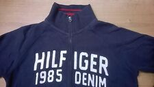 HILFIGER DENIM 1985 Men Jacket Jumper Navy Blue Size L Zip BIG LOGO 2 Pockets
