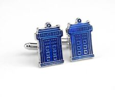 Gift Bag + Doctor Dr Who Police Box Blue cuff links Silver Pltd Cufflinks Movie