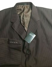 NWT Vittorio St. Angelo Blazer 58 Long jacket brown pinstriped