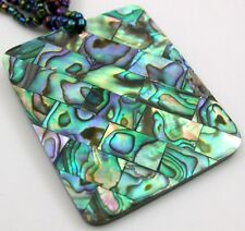 MOSAIC PAUA ABALONE SHELL BEADS necklace ; FA250
