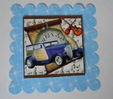 PK 2 STEAMPUNK BLUE CAR & WATCH EMBELLISHMENT TOPPERS FOR CARDS AND CRAFTS