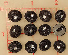 "500 plastic shank buttons flower texture front rhinestone center black 0.5"" 1/2"""