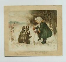 1886 L Prang Lithograph Christmas Greeting Card Fantasy Rabbits Girl Toys cv8681