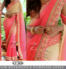 Designer Party Wear Pink & Cream Color Thread Work  Saree