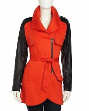 NWOT French Connection Trench Coat Jacket, Color: Red Black, Small $250