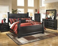 Contemporary 5Pc King Size Bedroom Set Ashley Furniture Rich Dark Color Home