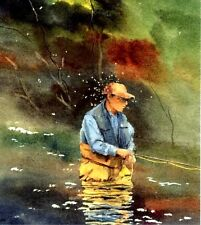 Fly Fishing Painting 8X10 Fathers Day Watercolor Cottage art print Barry Singer