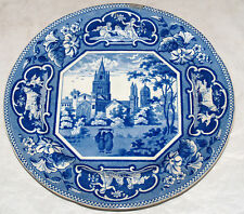 ANTIQUE HISTORIC BLUE STAFFORDSHIRE PLATE OXFORD UNIVERSITY J & W RIDGWAY