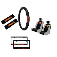 New Superman Car Truck Seat Covers Steering Wheel Cover License Plate Frames Set