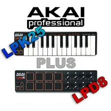 Akai LPK25 25 Key USB Keyboard Controller + Akai PRO LPD8 Midi USB Controller